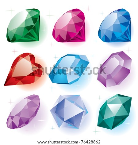 Vector set of diamonds of various shapes on a white background