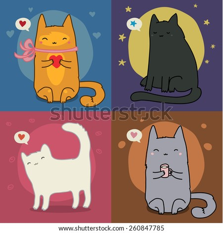 Vector Set Of Different Adorable Cartoon Cats