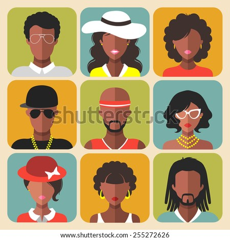 vector set of different african