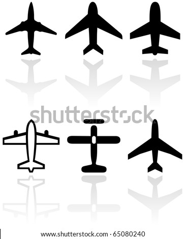 Vector set of different airplane symbols. All vector objects are isolated. Colors and transparent background color are easy to adjust.