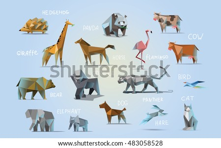 Vector set of different animals, polygonal icons, low poly illustration, cow, bear, dog, cat, elephant, giraffe, panther, flamingo, bird, hedgehog, gorilla, rabbit, horse, modern style, panda