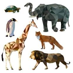 Vector set of different animals, polygonal icons, low poly illustration, fox, lion, elephant, giraffe, turtle, penguin