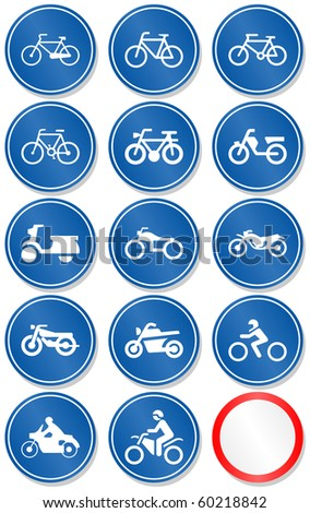 Vector set of different bike and motorbike traffic symbols. All vector objects are isolated. Colors and transparent background color are easy to adjust.