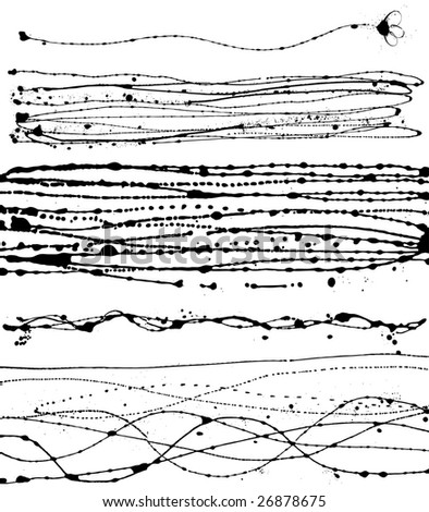 Vector set of different black-and-white ink strokes