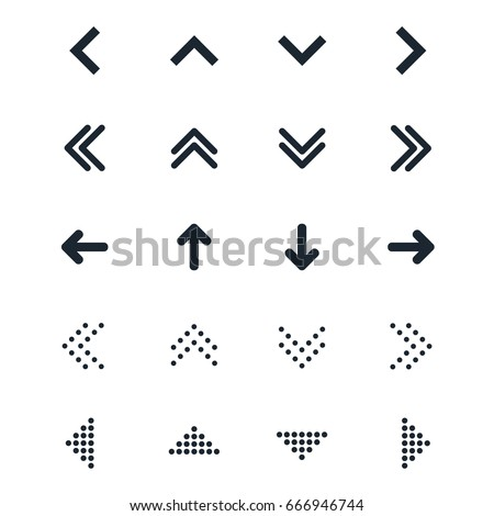 Vector set of different black Arrows icon. Abstract elements for business infographic. Up and down trend