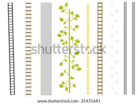 vector set of different brushes: film, railway, road, liana, chain, ladder, cat-step, track.