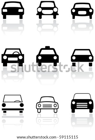 Vector set of different car symbols. All vector objects are isolated. Colors and transparent background color are easy to adjust.