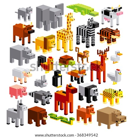 Vector Set Of Different Cartoon Animals Isolated