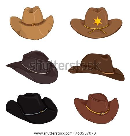 Vector Set of Different Cartoon Color Cowboy Hats