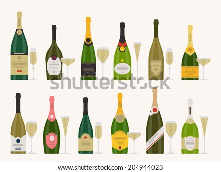 Vector set of different champagne bottles with glasses