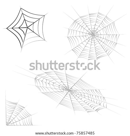 Vector set of different cobwebs.