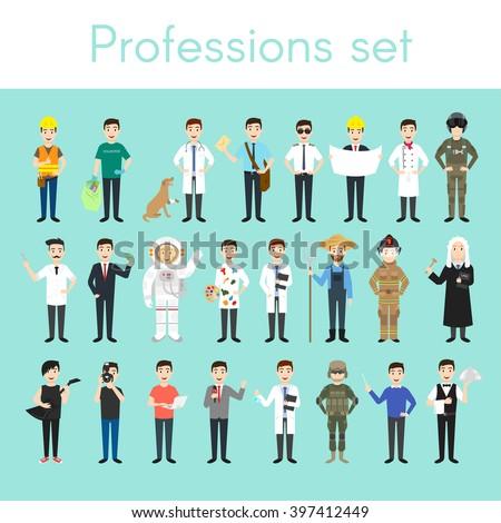 Vector set of different colorful man professions. Cartoon men characters. Doctor, volunteer, vet, firefighter, waiter, judge, programmer, artist, pilot, photographer, barber, astronaut, businessman.
