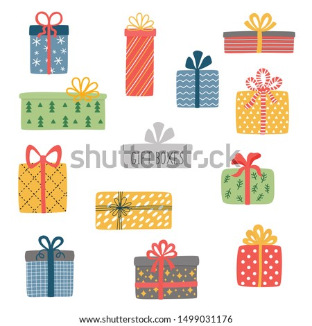 Vector set of different colorful wrapped gift boxes. Christmas gift box. Stockfoto ©