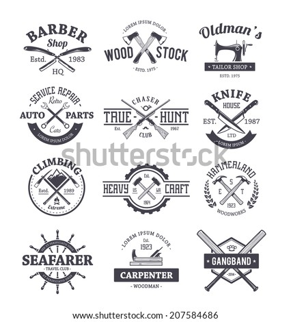Vector set of different crafts emblems Vintage style seals badges and design elements