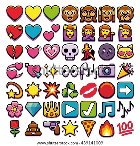 vector set of different emojis