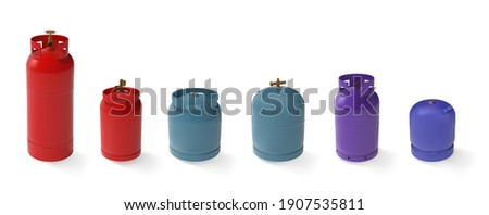 Vector set of different gas tanks. LPG natural gas cylinders with different shapes and colors. 3d mockup propane butane container for compressed gas Сток-фото ©