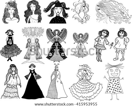 vector set of different girls