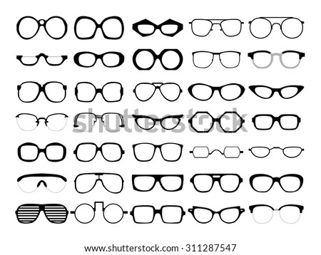 vector set of different glasses