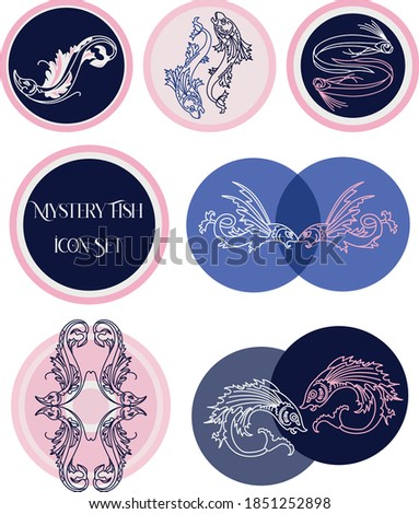 vector set of 6 different hand