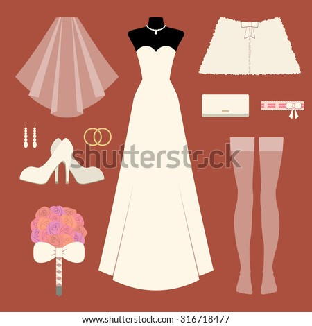 vector set of different items