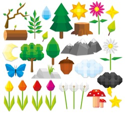 Vector Set Of Different Low Poly Style Natural Elements
