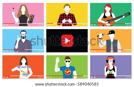 Vector Set Of Different People On Internet Videos