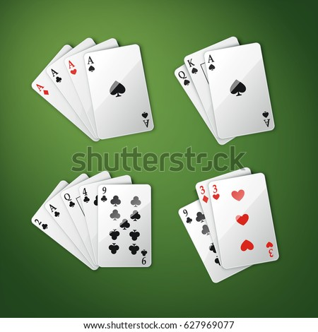 Vector set of different playing cards combination: four aces, royal straight flush and others top view isolated on green poker table