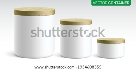 Vector set of different size round ceramic containers, covered with a wooden lid. White canisters for tea, coffee, sugar, flour, or different staff keeping, standing on a light gradient background.
