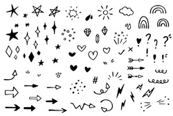 Vector set of different stars, sparkles, arrows, hearts, diamonds, signs and symbols. Hand drawn, doodle elements isolated on white background