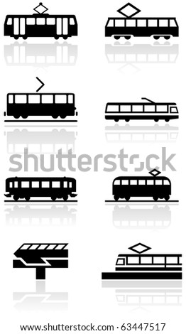 Vector set of different train illustrations or symbols. All vector objects are isolated. Colors and transparent background color are easy to adjust.