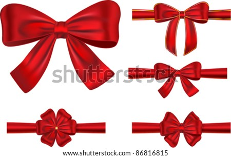 Vector set of different types of red satin ribbons with bows