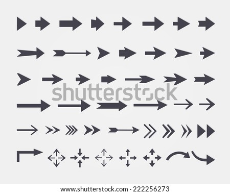Vector set of different vector arrows isolated on white background