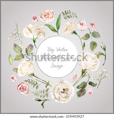 Vector set of different white, beige flowers for design. Watercolor roses, leaves. Set of floral elements to create compositions.