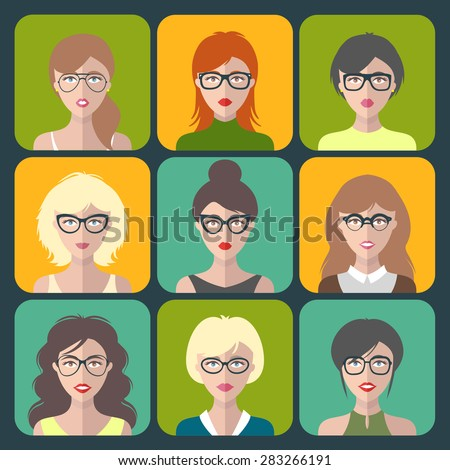 vector set of different women