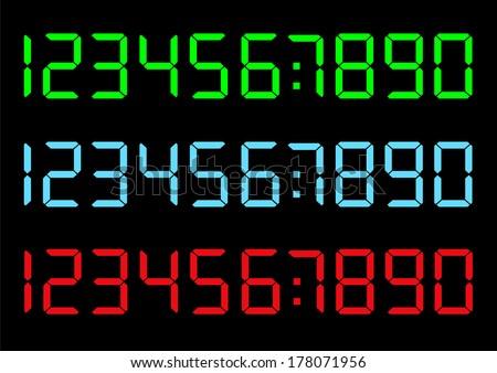 Vector set of digital numbers