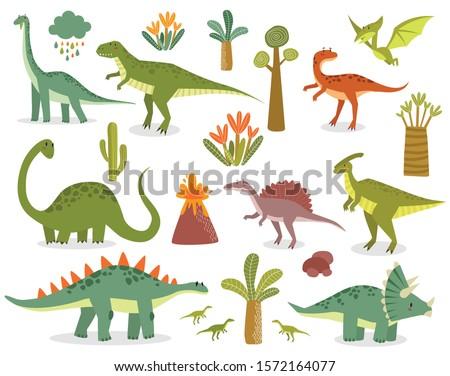 vector set of dinosaurs