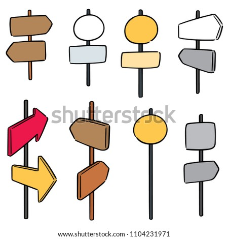vector set of direction post #1104231971
