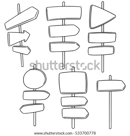 vector set of direction post #533700778