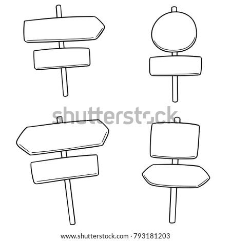 vector set of direction post #793181203