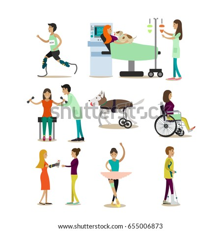 vector set of disabled people