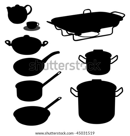 Vector set of dishware, utensil, pans. Isolated on white