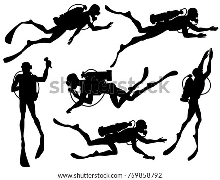 Stock Photo Vector set of diver Silhouettes