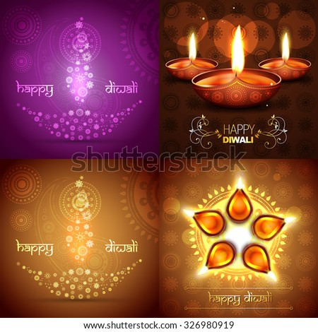 vector set of diwali background