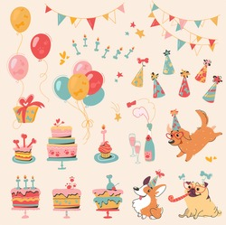 Vector set of Dog Birthday party and  elements for design - dogs, cakes, bones, champagne, garlands, tubules, holiday hats and canine treat. Decorative elements in cartoon style, Corgi, Pug, Labrador