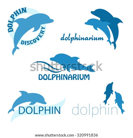 vector set of dolphinarium