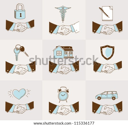 Vector set of doodle Handshake insurance icons