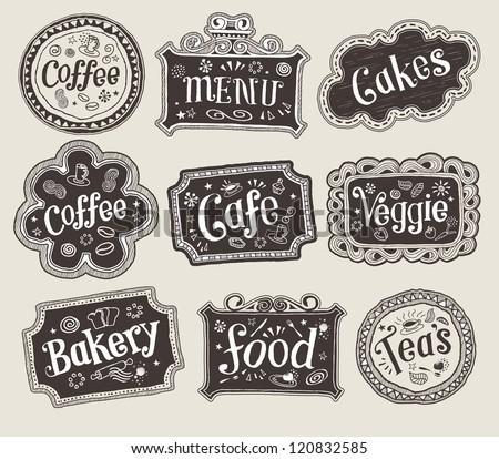 Vector set of doodle labels