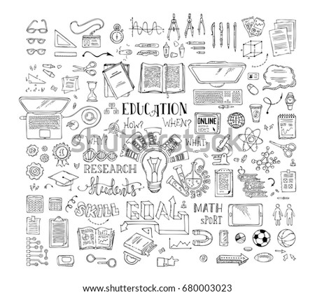 Vector set of doodles education elements and icons. Chemistry, physics and laboratory research symbols and signs. Dna, molecules, test-tubes and other objects. Scene creator items. Top view.
