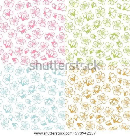 vector set of doodles seamless