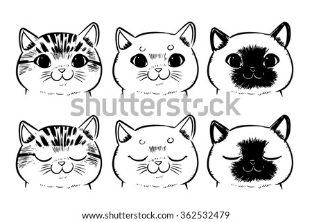 vector set of drawing cat face